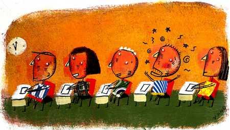 Children In Classroom Watching Clock