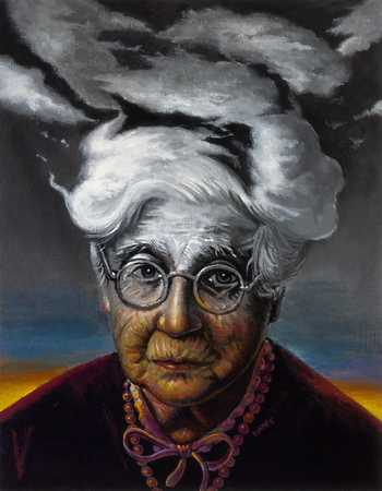 Old woman with hair in clouds