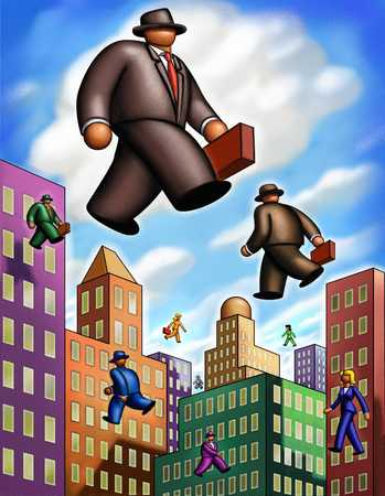 Businessman Walking On Air In Cityscape