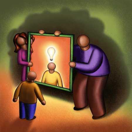 Parents Holding Mirror To Lightbulb Boy