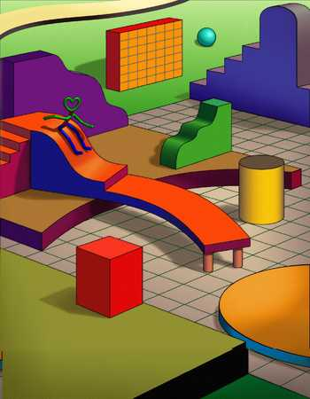 Figure On Slide In A Room Of Geometric Shapes