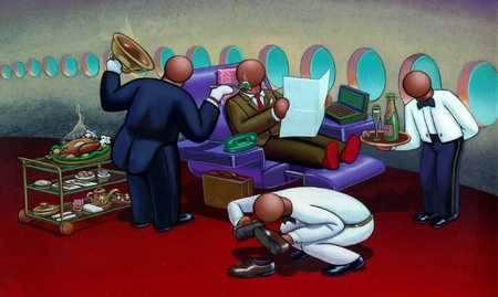 Businessman Receiving Service On Airplane
