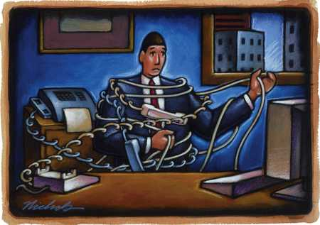 Business Man Tangled In Wires