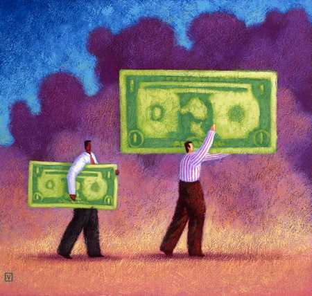 Two Men With Different Size Money