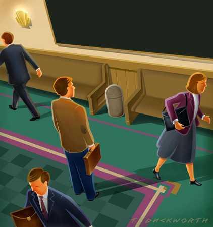 Executive in bustling hallway