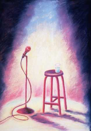 Stage With Stool, Microphone, And Glass