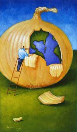 Peeling Off Layers Of Onion Globe