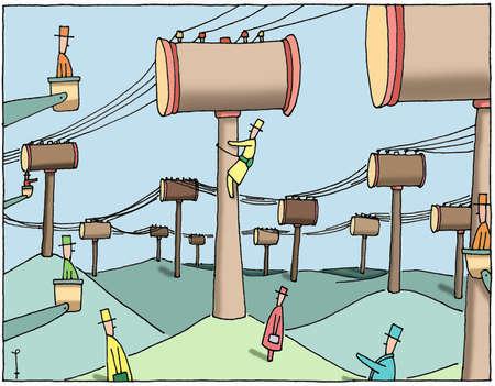 Gavel wire poles