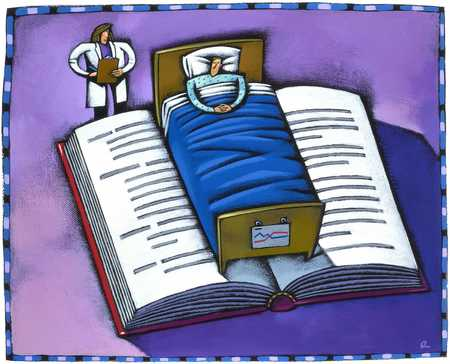 Patient In Hospital Bed On Book