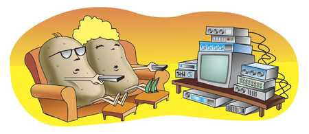 Stock Illustration - Couch potatoes watching TV