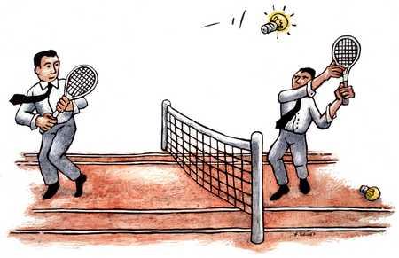 Men Playing Tennis With Light Bulbs