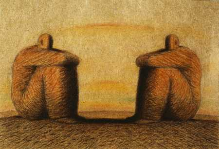 Two Seated Men Looking At Each Other