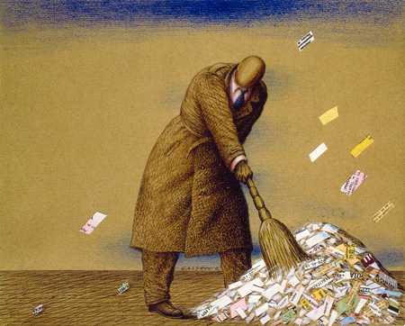 Sweeping Up Paper Scraps