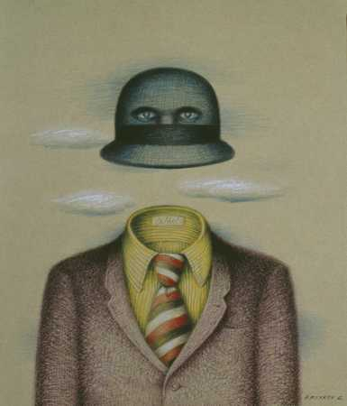 Hat With Eyes Over Empty Suit