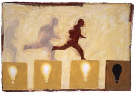 Man Running Over Light Bulbs