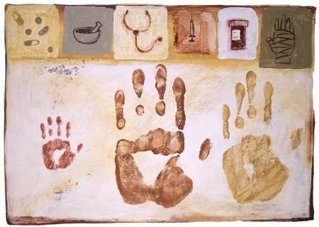 Family Handprints And Medical Icons