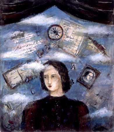 Woman With Calendar, Datebook, Photograph, Etc.
