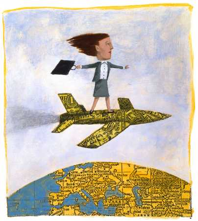 Woman On Dollar Airplane Over Globe