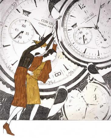 Women Turning Clocks