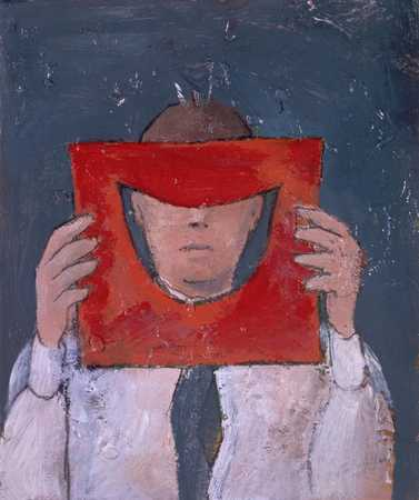 Man Covering Eyes With Red Paper