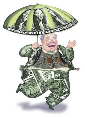 Money man with umbrella