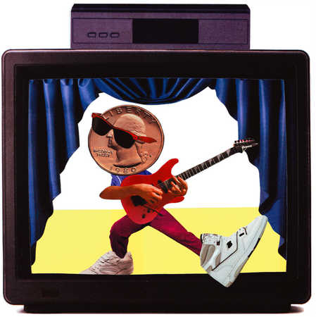 Musician with quarter for head playing guitar on TV