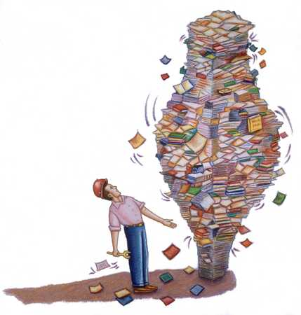 Man And Large Pile Of Books And Paper