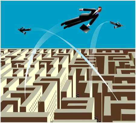 Businessmen Leaping Out Of Labyrinth