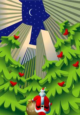 Santa, Christmas Trees And Skyscrapers