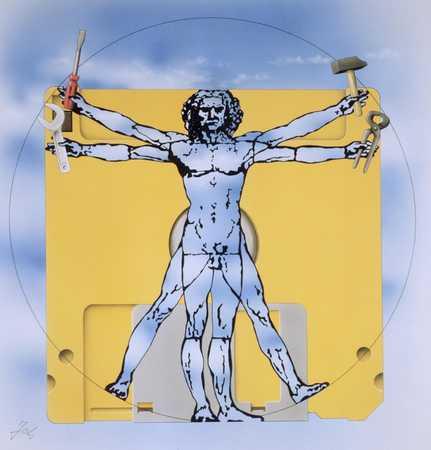 Leonardo Da Vinci Man With Tools And Disk