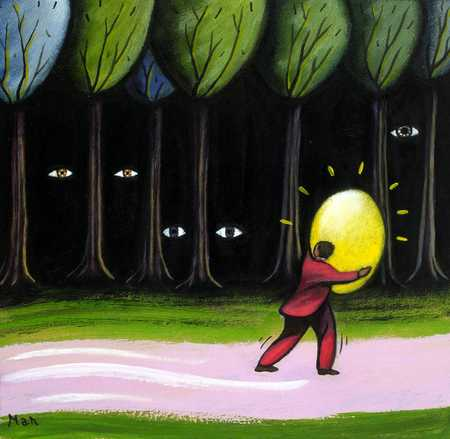 Man carrying golden egg by eye-filled forest