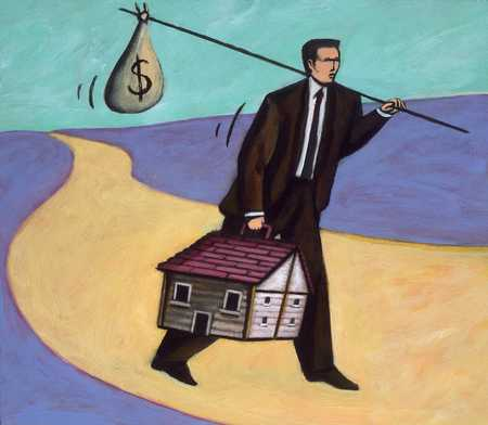 Adult runaway carrying house and moneybag