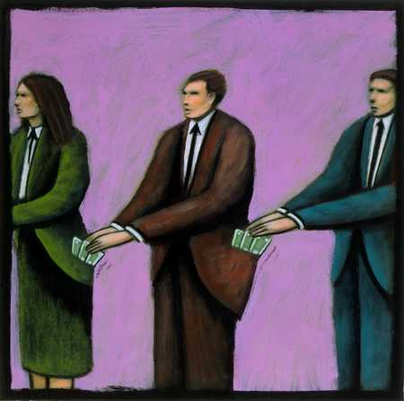 Businesspeople taking money from each other's pockets