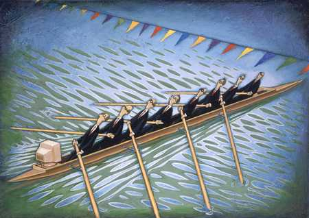 Executives Rowing Canoe With Computer
