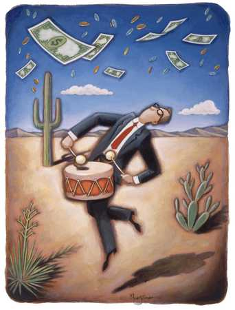 Man Drumming In Desert With Money Floating Down