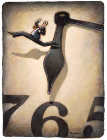 Man Leaping Ahead Of Clock Hand