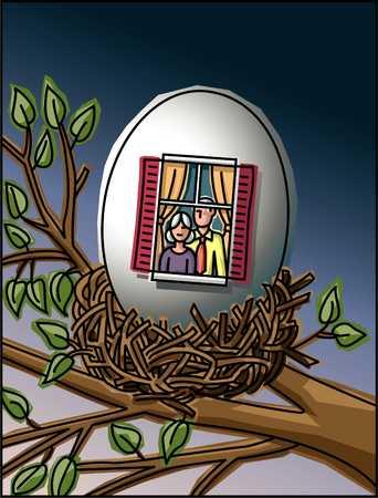 Couple living in nest egg