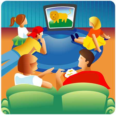 Stock Illustration - Family watching TV together