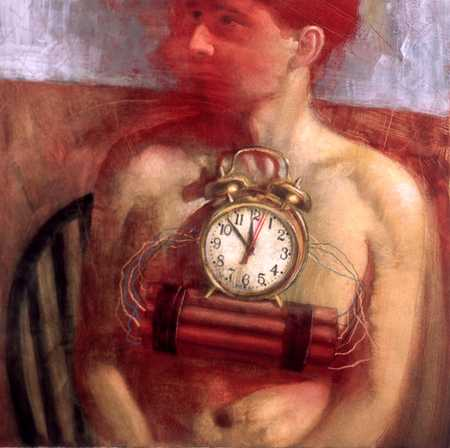 Man With Time Bomb On Chest