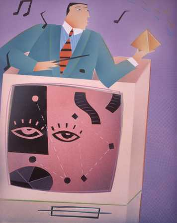 Bandleader with pyramid emerging from computer