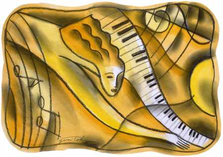 Woman playing keyboard