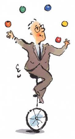 Man on unicycle juggling
