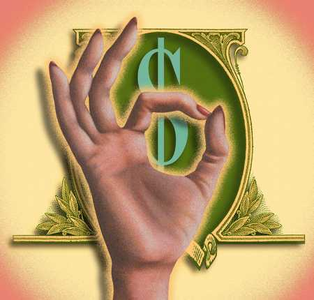 Hand and dollar sign