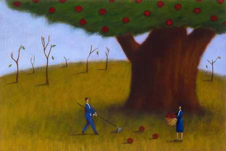 Big Apple Tree And Withered Trees