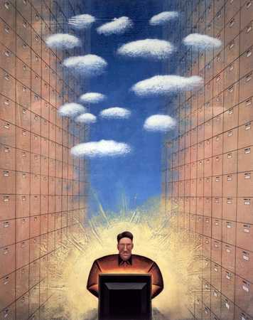 Man With Computer Between Files