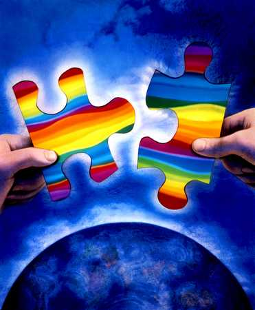 Rainbow Puzzle Pieces And Globe