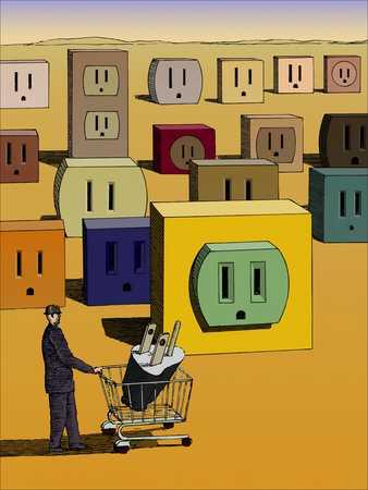Man with plug in cart walking among sockets