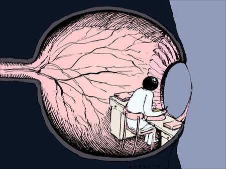 Man at desk inside eye