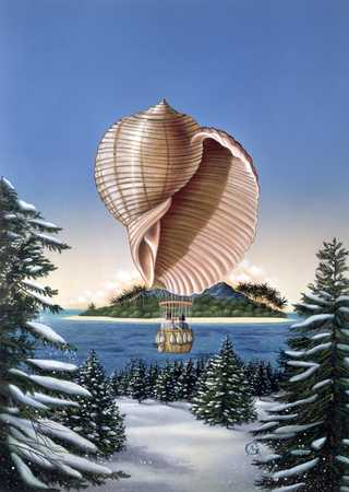 Shell Air Balloon Over Winter Landscape