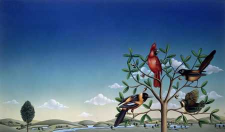 Different Birds In Tree